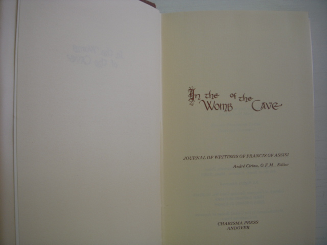 Image for In the Womb of the Cave: Journal of Writings of Francis of Assisi