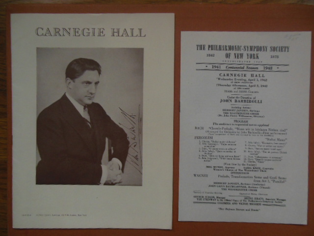 Image for Carnegie Hall  Program; The Philharmonic Symphony Society of New York Program  (Featuring John Barbiolli)