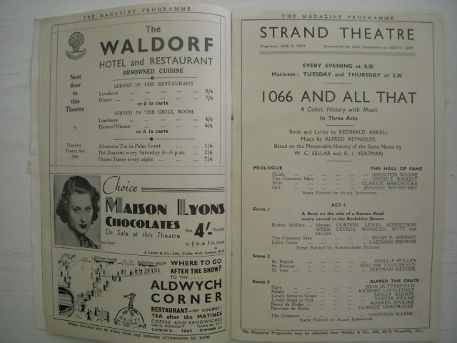 Image for Strand Theatre The Magazine Programme; 1066 And All That