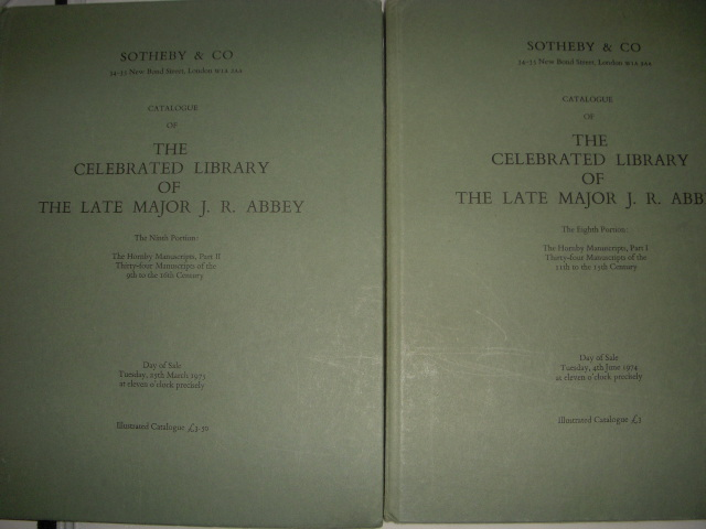 Image for Catalogue of the Celebrated Library of the Late Major  J.R. Abbey; The Hornby Manuscripts Volume I and Volume II