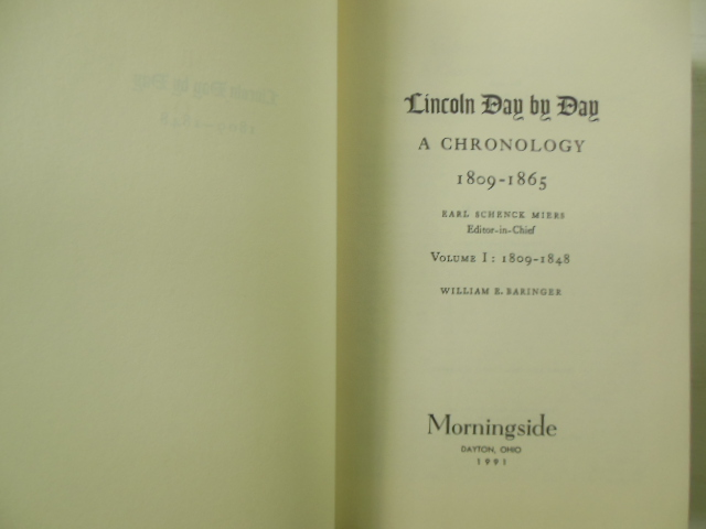 Image for Lincoln Day-By-Day Volume I 1809-1848