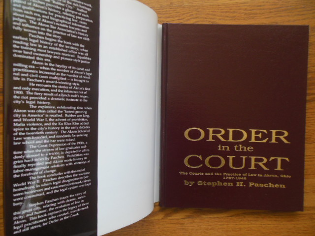 Image for Order in the Court; The Courts and the Practice of Law in Akron, Ohio  1787-1945
