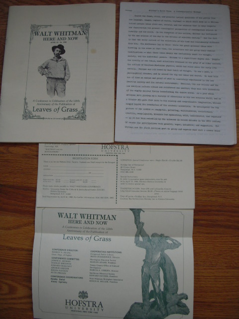 Image for Walt Whitman Here and Now April 25-26, 1980; a Conference in Celebration of the 125th Anniversary of the Publication of Leaves of Grass  (Extra Material Laid-in )