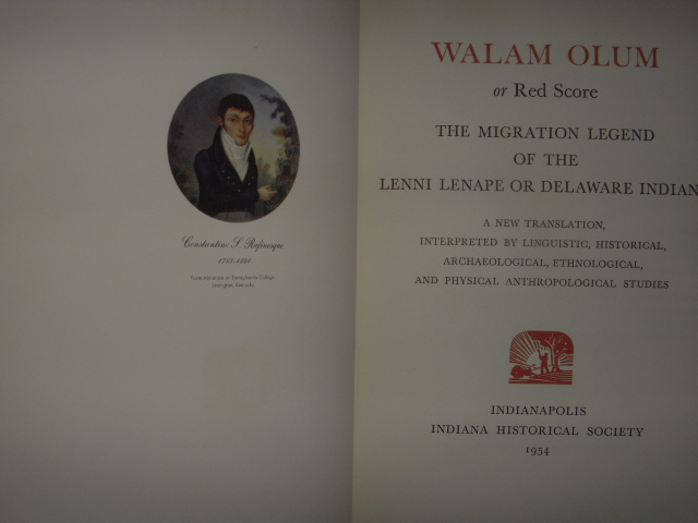 Image for WALUM OLUM or Red Score: The Migration Legend of the Lenni Lenape Or Delaware Indians