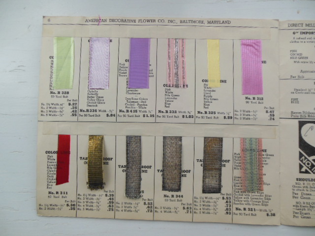 Image for American Decorative Flower Company Inc. 1939 Ribbon Sample Book  (Complete)