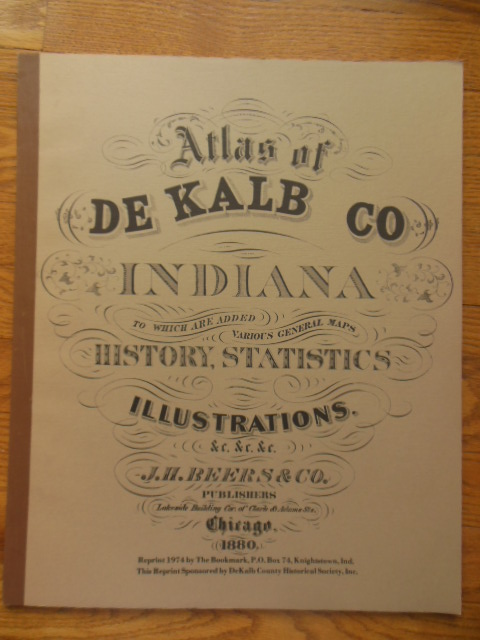 Image for Atlas of De Kalb County Indiana (Reprint of 1880 Atlas)