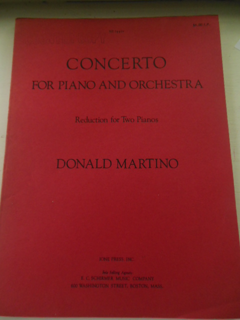 Image for Donald Martino Concerto for Piano and Orchestra; Reduction For Two Pianos