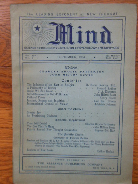 Image for Mind Magazine; The Leading Exponent of New Thought  September, 1904