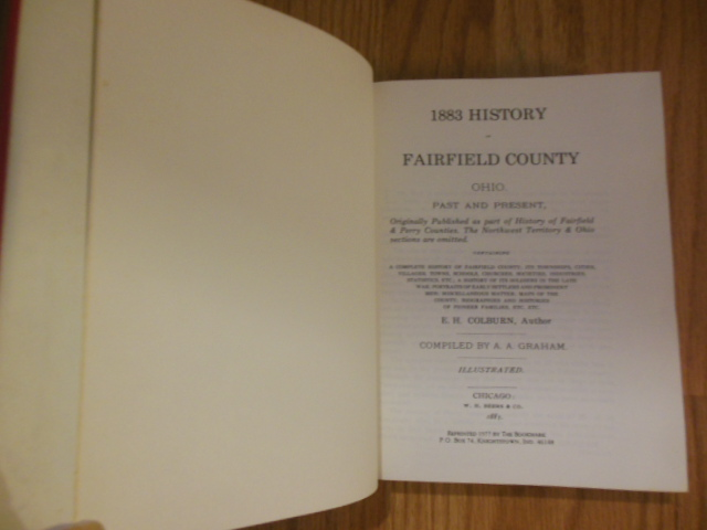 Image for 1883 History  of Fairfield County Ohio Past and Present
