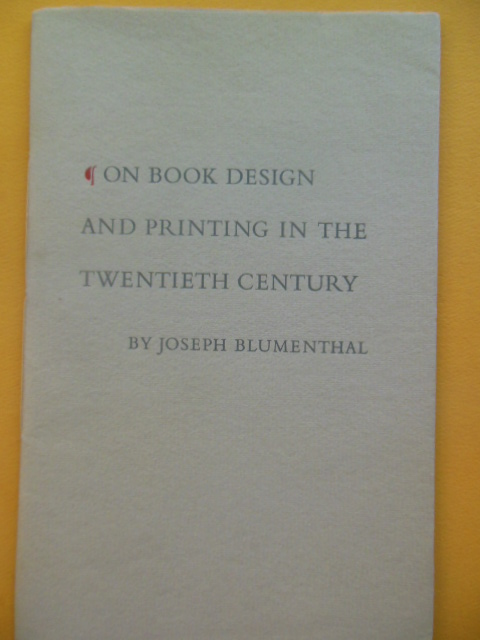 Image for On Book Design and Printing in the Twentieth Century