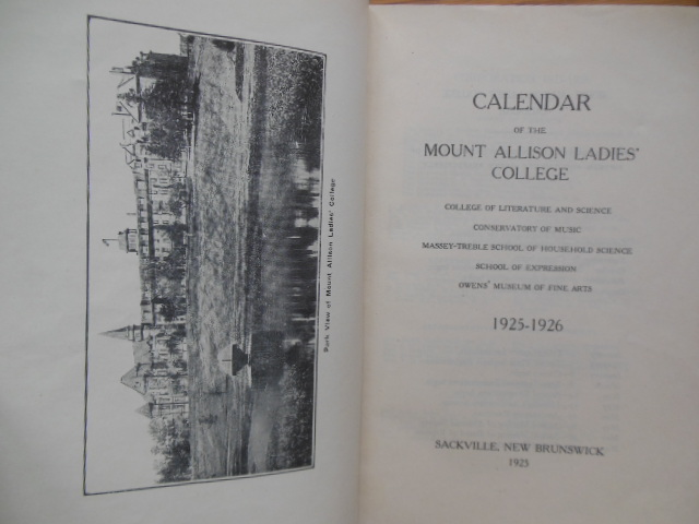 Image for Calendar of the Mount Allison Ladies College Sackville, New Brunswick 1925-1926