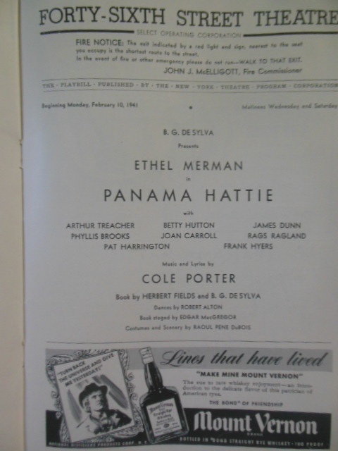 Image for Panama Hattie: Playbill for the Forty-Sixth Street Theatre, 1941 Ethel Merman, Arthur Treacher, Betty Hutton)