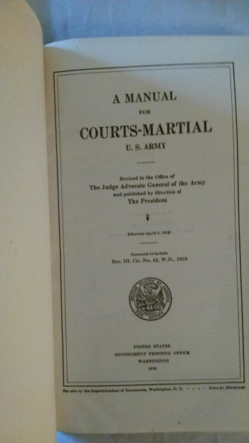 Image for A MANUAL FOR COURTS-MARTIAL U. S. ARMY 1928