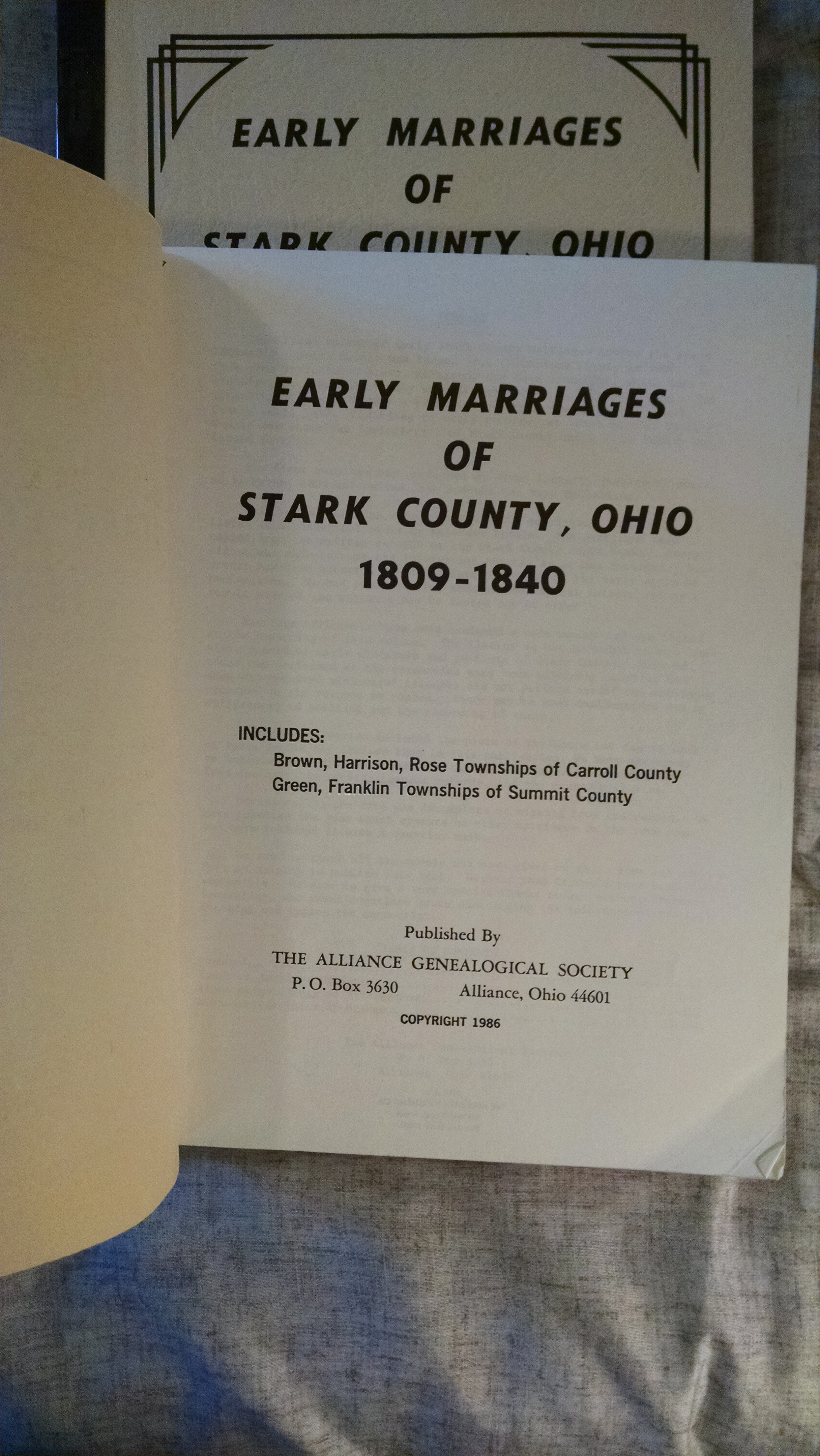 Image for EARLY MARRIAGES OF STARK COUNTY OHIO  3 VOL  1809-1840, 1841-1855 , 1856-1870