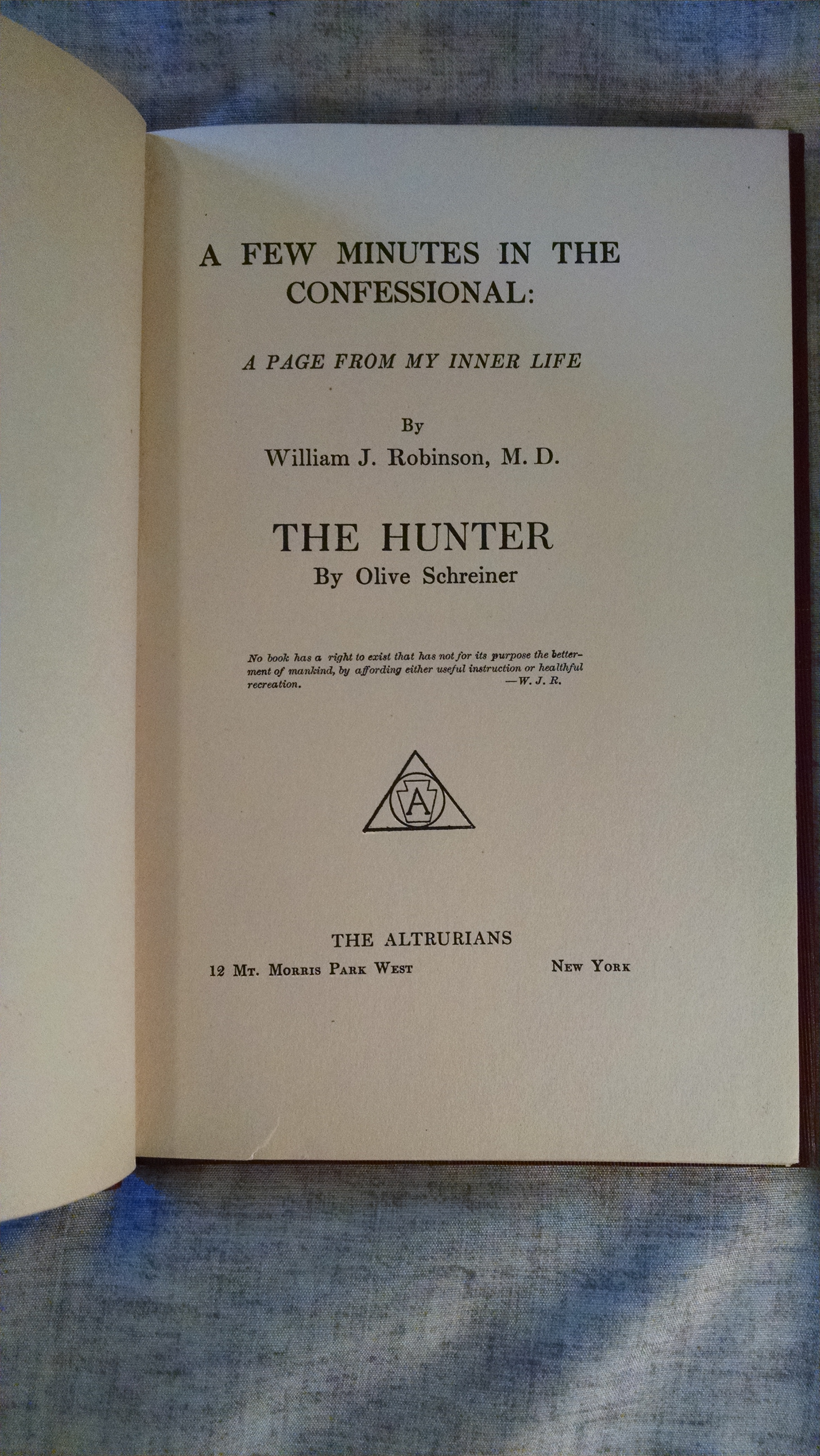 Image for A FEW MINUTES IN THE CONFESSIONAL : A PAGE FROM MY INNER LIFE  , THE HUNTER