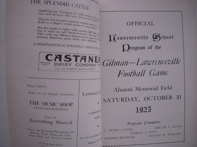 Image for Official Lawrenceville School Program of the Gilman-Lawrenceville  Football Game  October 31, 1925